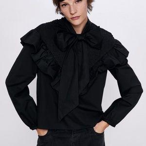 Zara Poplin Blouse with Tie